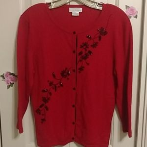 True red and black cardigan, embellished